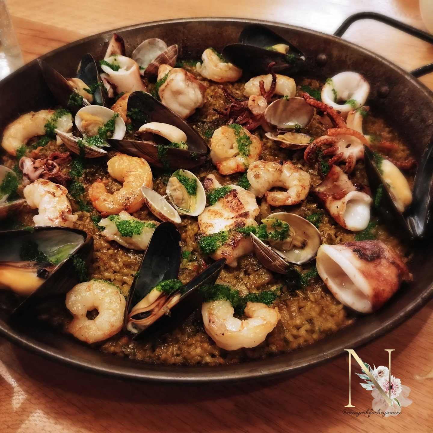 Spanish seafood paella at Boqueria