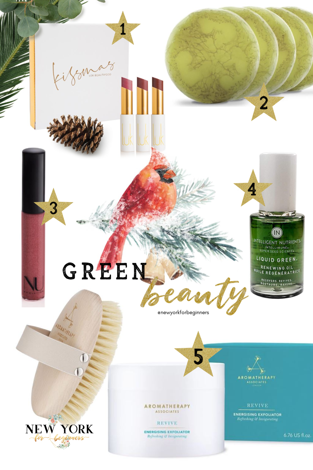 Indie beauty with green holiday gifts for her