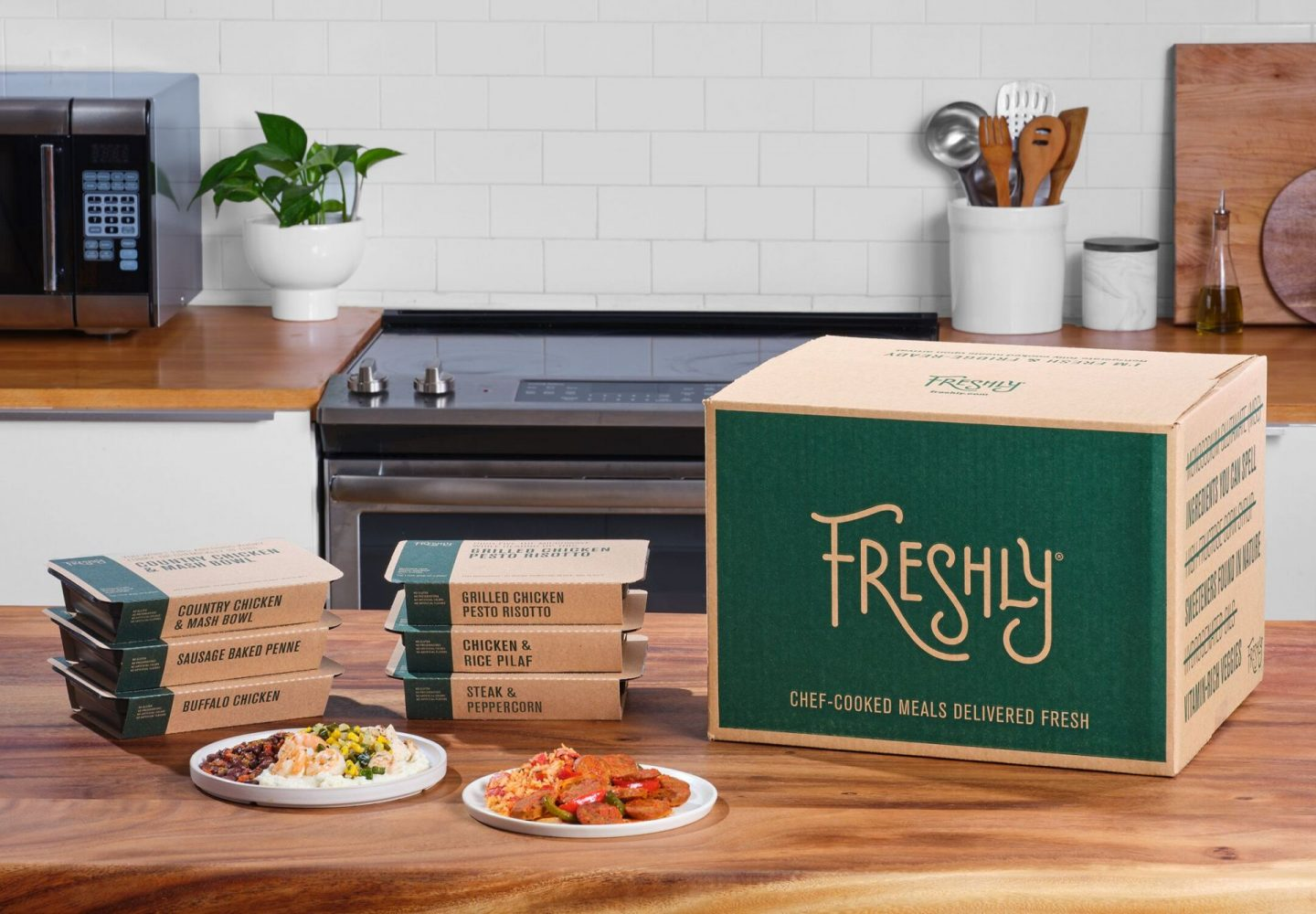Image of table with freshly meal delivery service order