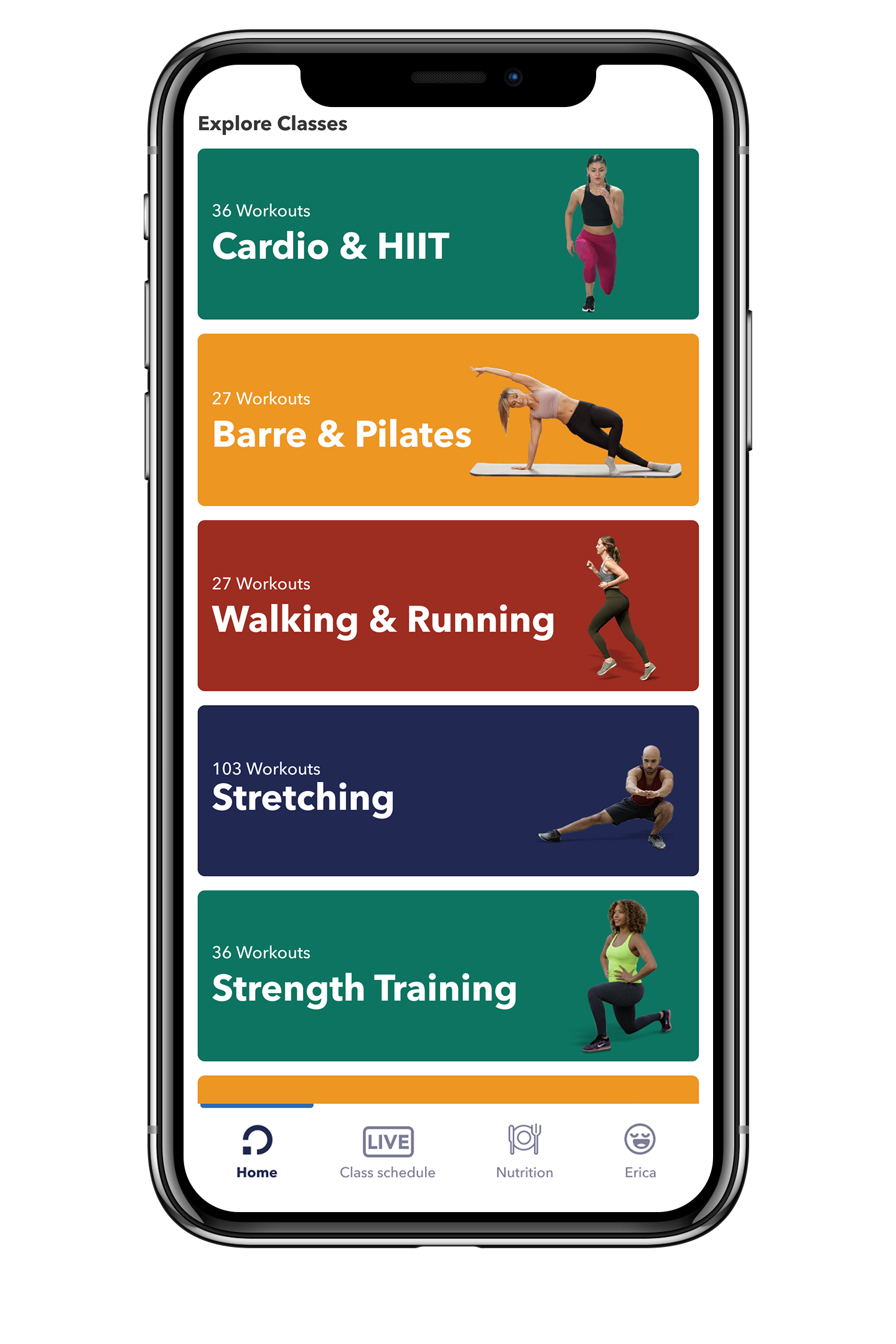 Closeup of the openfit app on a smartphone showing the workout categories, including Xtend Barre